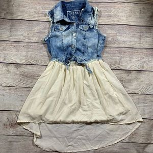 Guess tie front denim dress with high low skirt